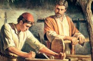 San José Obrero, el carpintero de Nazaret, que con su laboriosidad proveyó la subsistencia de María y de Jesús e inició al Hijo…