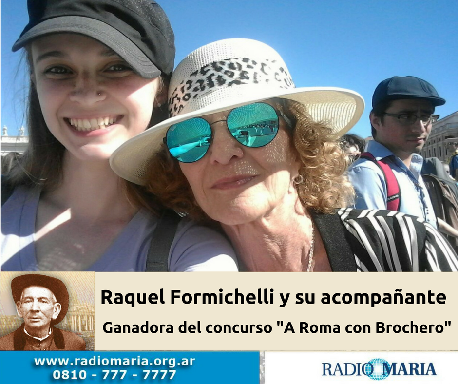 Raquel Formichelli y su acompañanteGanadora del concurso -A Roma con Brochero- (1)