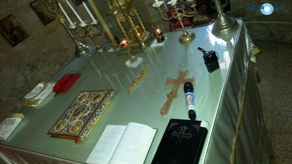 Estudio Movil en Siria, Aleppo, funciona para la transmisión de una misa en septiembre de 2017