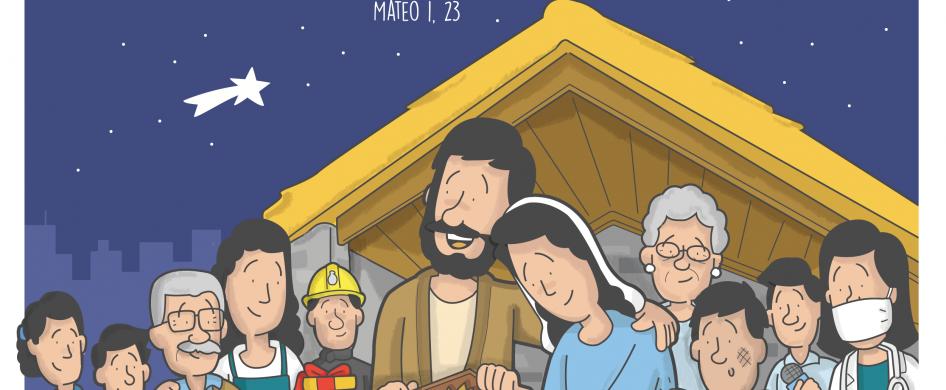 """¡Dios con nosotros! Este es el mensaje que queremos compartir con todos este año. La campaña Navidad es Jesús 2020 está inspirada en el texto bíblico de Mateo 1, 23: """"La Virgen concebirá y dará a luz un hijo a quien pondrá el nombre de Emanuel, que traducido significa: 'Dios con nosotros'"""". María nos entrega generosamente a su hijo, por…"""