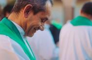 """04/04/2018 – """"Jesús se aparece estos días a los apóstoles y lo primero que dice es Alégrense, No tengan miedo, la exhortación es…"""