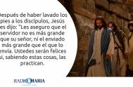 Catequesis en un minuto 16/05/2019 –Jueves de la IV semana de Pascua Después de haber lavado los pies a los discípulos, Jesús les…