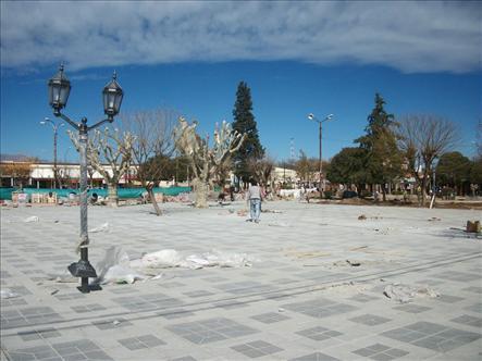 La plaza de Villa Cura Brochero está siendo remodelada.