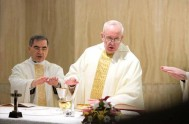 """10/01/2014 - El Papa advirtió, en la misa de la Casa Santa Marta, que en la Iglesia existen muchos """"cristianos derrotados"""". Al mismo…"""