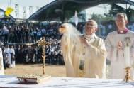 22/01/2015 – El Papa Francisco retomó, tras su viaje a Asia, las misas matutinas con grupos de fieles en la capilla de Santa…