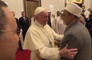 04/02/2019 -El Papa Francisco y el Gran Imán de Al-Azhar, Ahmed Muhammad Ahmed Al-Tayyib, institución de referencia del mundo musulmán suní con sede…
