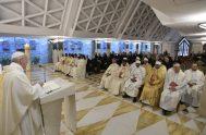 """10/05/2019 – Durante la Misa celebrada este viernes 10 de mayo en la Casa Santa Marta, el Papa Francisco destacó """"la gracia…"""