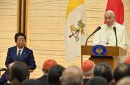25/11/2019 –En la última cita de su penúltimo día en Japón el Papa Francisco se encontró con las Autoridades y el Cuerpo Diplomático…