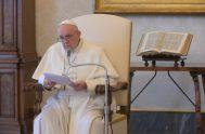 """08/04/2020 –El Papa Francisco reconoció que """"en este tiempo de preocupación por la pandemia"""" del coronavirus, COVID-19, que está afectando al mundo """"podríamos…"""