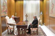13/05/2021 -El papa Francisco recibió al presidente Alberto Fernández en el Aula Paulo VI, ubicada a pocos metros de Santa Marta. El mandatario…
