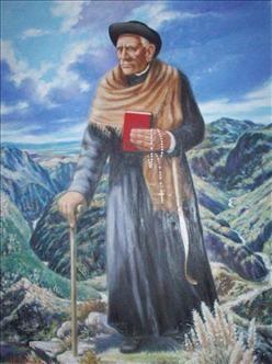 Un fresco que pinta a Brochero en sus últimos años, con las montañas de fondo.