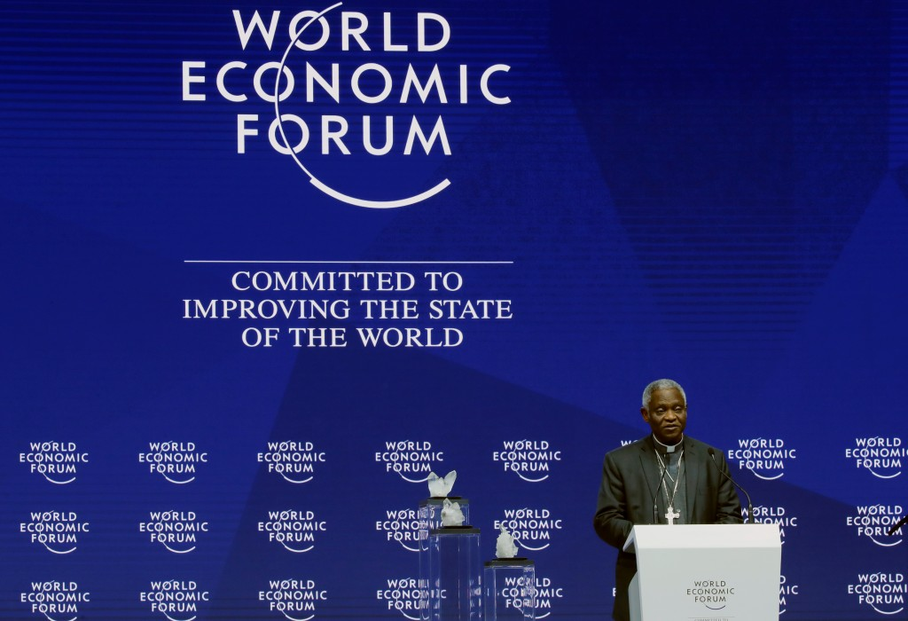 Ghanaian Cardinal Peter Turkson, prefect of the Dicastery for Promoting Integral Human Development, speaks Jan. 22 during the opening session of the World Economic Forum in Davos, Switzerland. (CNS photo/Denis Balibouse, Reuters) See POPE-DAVOS Jan. 23, 2018.