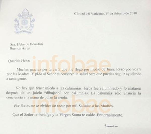 carta del papa a bonafini