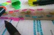 Hago el mate, acomodo los marcadores, clasifico los libros por tema, etiqueto con adhesivos, hago flechitas para acá y para allá, pienso, mancho…