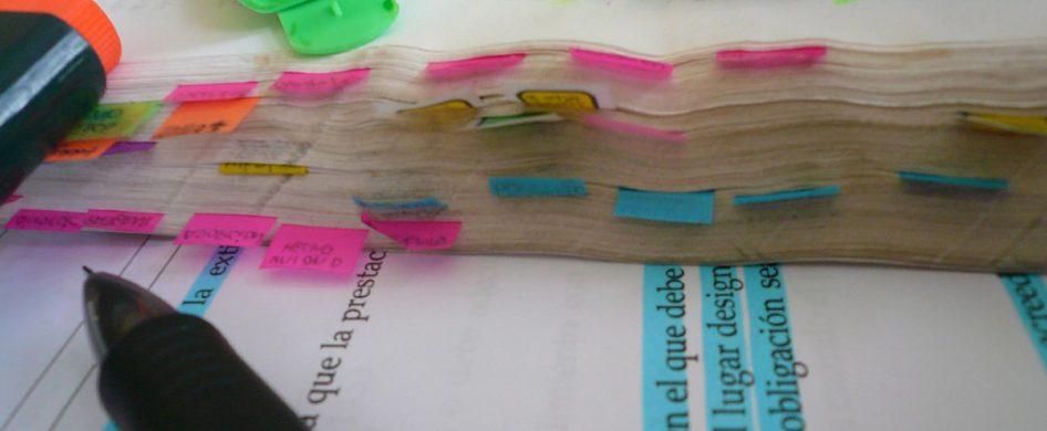 Hago el mate, acomodo los marcadores, clasifico los libros por tema, etiqueto con adhesivos, hago flechitas para acá y para allá, pienso, mancho la hoja con mate, rezongo, me levanto para limpiar y cambiar la yerba, aprovecho a traer algo para comer, me distraigo, tengo abiertos muchos Words al mismo tiempo, me pongo nerviosa porque se está terminando este fibrón…